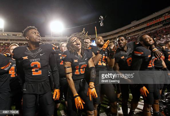 The Oklahoma State Cowboys celebrate after the game against the TCU Horned Frogs November 7 2015 at Boone Pickens Stadium in Stillwater Oklahoma The...