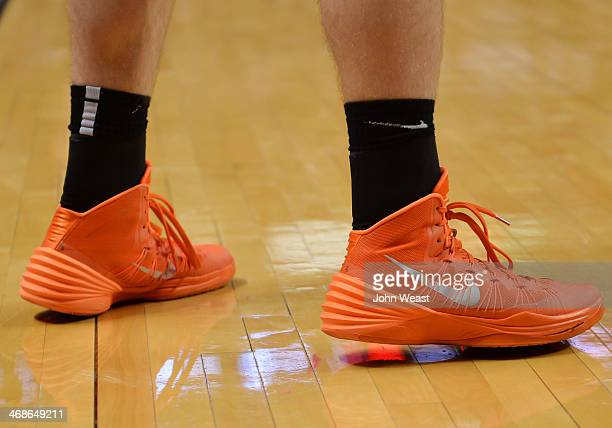 The Oklahoma State Cowboys wear Nike shoes and socks during game action against the Texas Tech Red Raiders on February 08 2014 at United Spirit Arena...