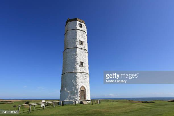 The old chalk tower lighthouse at Flamborough Head, Flamborough, UK.