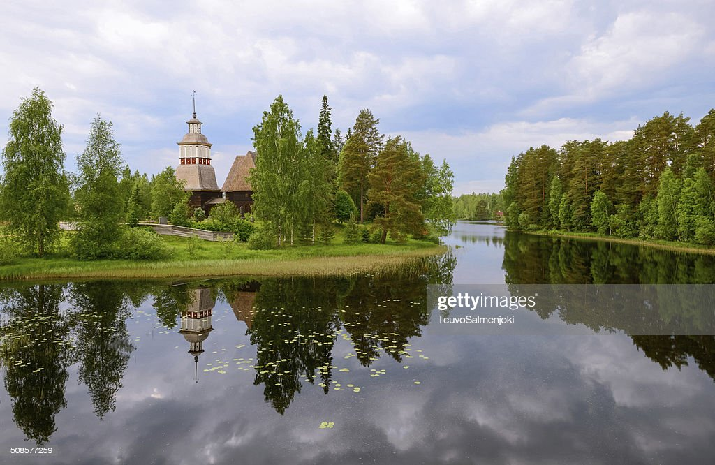 The old church by the lake : Stock Photo
