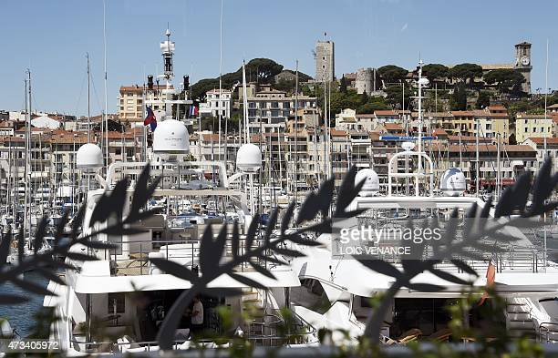 The old city of Cannes and the marina are seen from the festival palace during the 68th Cannes Film Festival in Cannes southeastern France on May 15...