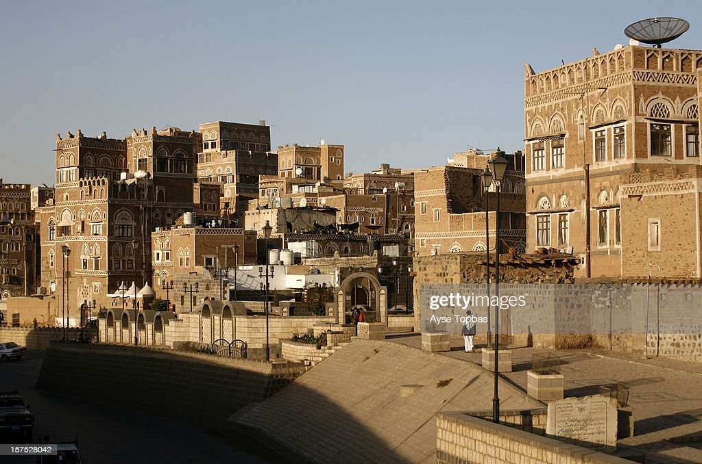 The old city of Sana'a, a UNESCO World Heritage Site, its unique architectural characteristics, most notably expressed in its multi-story buildings decorated with geometric patterns.