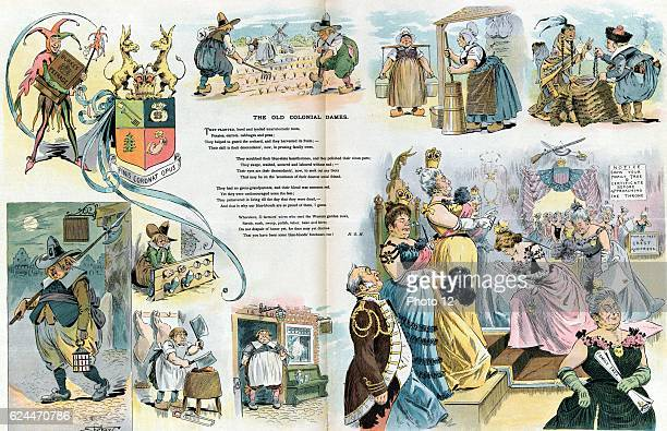 The old colonial dames By Samuel Ehrhart 18621937 artist Published 1899 Print shows a vignette cartoon with scenes of colonial men and women working...