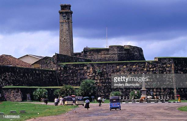 The old Fort walls and British ClockTower of Galle, originally built by the Portuguese with a moat, the fort was subsantially enlarged by the Dutch in 1667