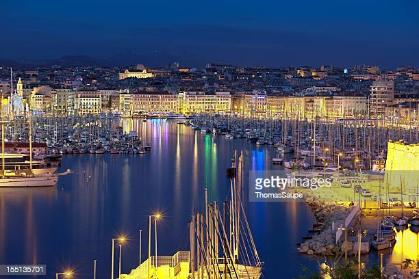 The old harbor of Marseille at night