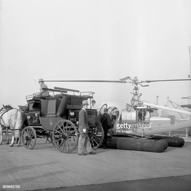 The old London to Bristol mail coach sitting at Battersea Heliport The coach drawn by four horses is taking part in a restage of the London to...