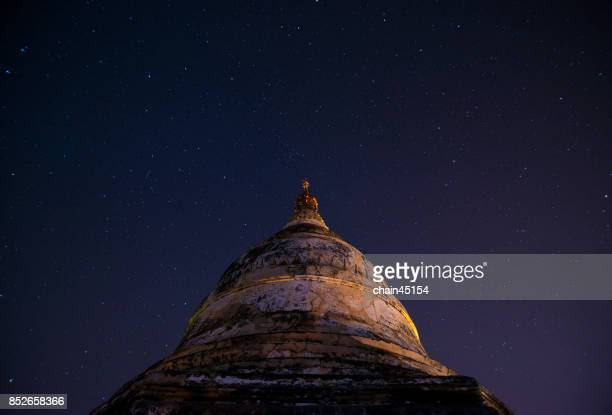 The old pagoda in Bagan on the background of star at night scene in Bagan, Myanmar.