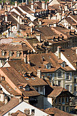 The old part of Berne, capitol of Switzerland, with its countless roofs and chimneys