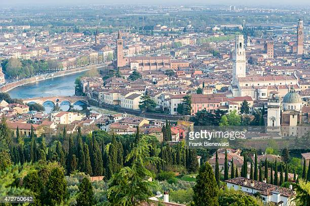 The old part of town seen from the church 'La Madonna di Lourdes' the river Adige is leading throug the city