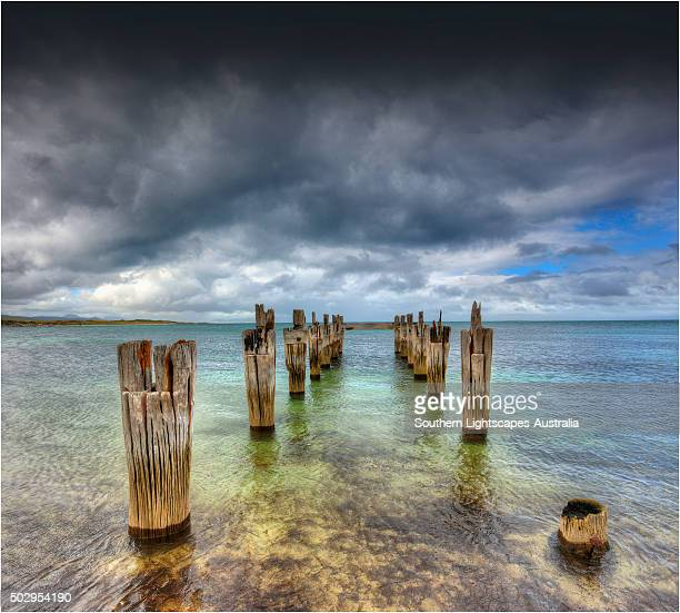 The old pier at Lillies beach on Flinders Island, Bass Strait, Tasmania, Australia.