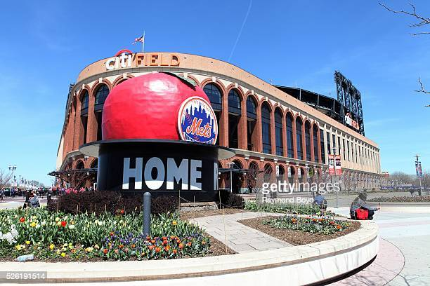 The old Shea Stadium 'Home Run Apple' sits outside Citi Field home of the New York Mets baseball team in Flushing New York on April 16 2016