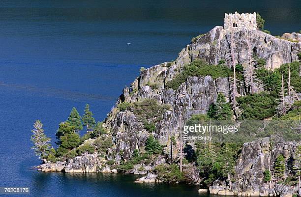 The Old Stone Teahouse sits perched on top of Fanette Island on lovely Emerald Bay on the western shores of Lake Tahoe, Lake Tahoe, California, United States of America, North America