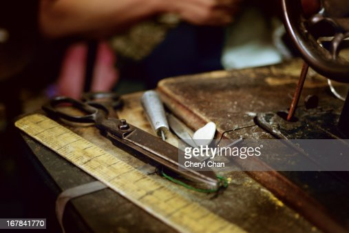 the old tailor's sewing kit : Stock Photo