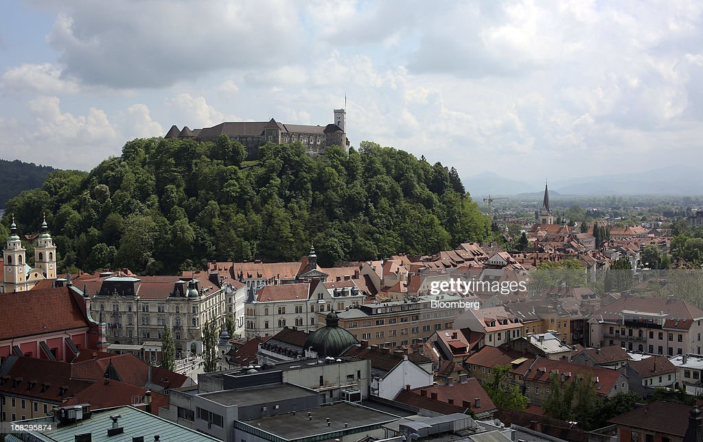 The old town and castle stand on the city skyline in Ljubljana, Slovenia, on Tuesday, May 7, 2013. Slovenia plans to increase taxes to make up for the swelling budget shortfall as the country works to recapitalize its banks. Photographer: Chris Ratcliffe/Bloomberg via Getty Images