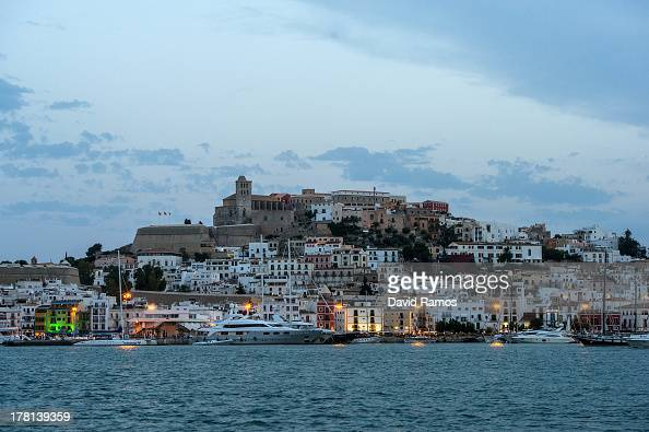 The old town is seen at dusk on August 22 2013 in Ibiza Spain The small island of Ibiza lies within the Balearics islands off the coast of Spain It...