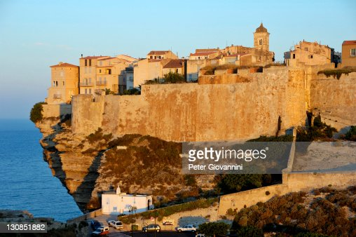 The old town of Bonifacio on the edge of steep cleefs, Corsica, France