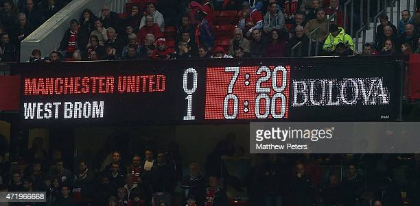 The Old Trafford scoreboard shows the final score after the Barclays Premier League match between Manchester United and West Bromwich Albion at Old...