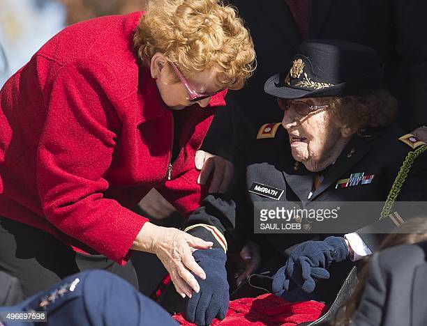 The oldest known female World War II vet Army Lieutenant Colonel Luta C McGrath who turns 108 later this month attends Veteran's Day ceremonies at...
