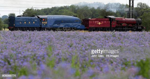 The Olton Hall Steam engine made famous as the Hogwarts Express in the Harry Potter films pulls Mallard across the North Yorkshire countryside