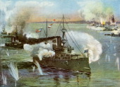 'The 'Olympia' at Manila' 1898 The US Navy protected cruiser USS 'Olympia' at the Battle of Manila Bay in the Philippines during the SpanishAmerican...