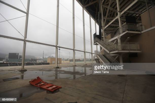 The Olympic Aquatics stadium stands mostly abandoned at Olympic Park on March 18 2017 in Rio de Janeiro Brazil Seven months after the Rio hosted the...