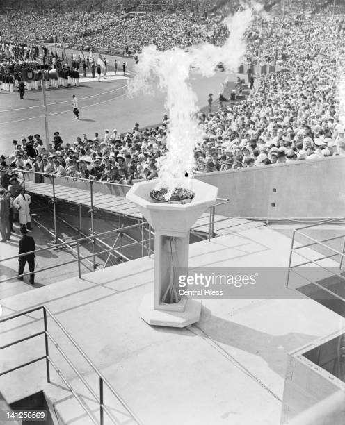 The Olympic cauldron at Wembley Stadium during the opening ceremony of the London Olympics 29th July 1948
