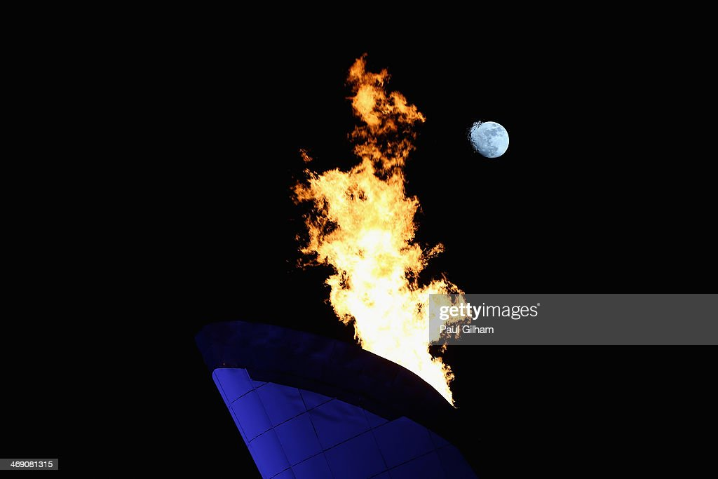 The Olympic Cauldron burns on day five of the Sochi 2014 Winter Olympics on February 12, 2014 in Sochi, Russia.