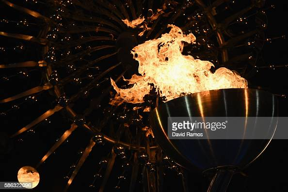 The Olympic Cauldron is lit at the Olympic Boulevard for the 2016 Rio Summer Olympic Games on August 5 2016 in Rio de Janeiro Brazil