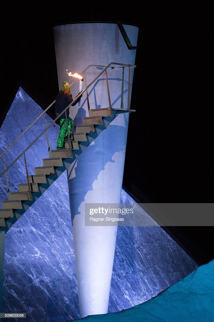 The Olympic cauldron is lit by <a gi-track='captionPersonalityLinkClicked' href=/galleries/search?phrase=Princess+Ingrid+Alexandra&family=editorial&specificpeople=243087 ng-click='$event.stopPropagation()'>Princess Ingrid Alexandra</a> of Norway during the opening ceremony of theÊLillehammer 2016 Youth Olympic Games on February 12, 2016 in Lillehammer, Norway.