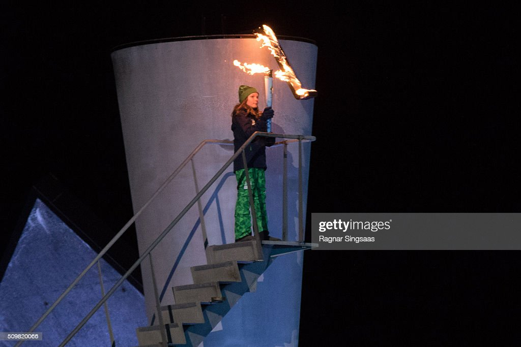 The Olympic cauldron is lit by Princess Ingrid Alexandra of Norway during the opening ceremony of theÊLillehammer 2016 Youth Olympic Games on February 12, 2016 in Lillehammer, Norway.