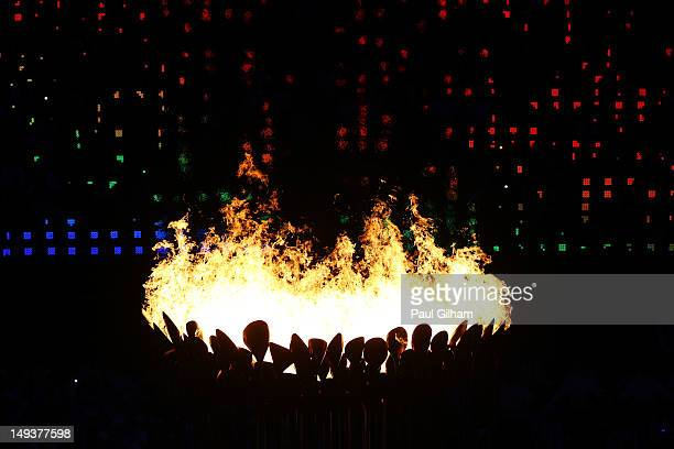 The Olympic Cauldron is lit during the Opening Ceremony of the London 2012 Olympic Games at the Olympic Stadium on July 27 2012 in London England