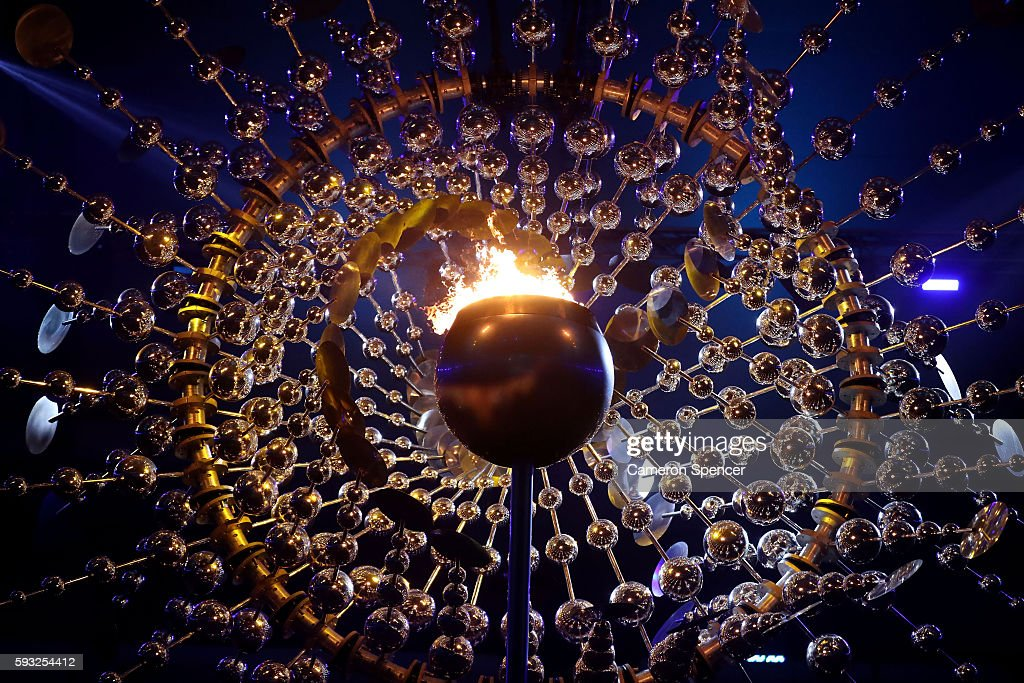 The Olympic Cauldron is seen at the start of the Closing Ceremony on Day 16 of the Rio 2016 Olympic Games at Maracana Stadium on August 21 2016 in...