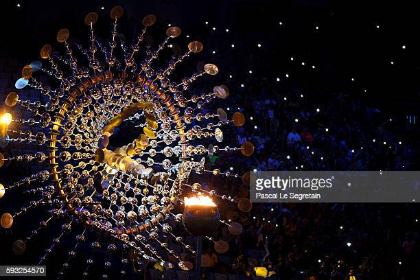 The Olympic cauldron is seen during the Closing Ceremony on Day 16 of the Rio 2016 Olympic Games at Maracana Stadium on August 21 2016 in Rio de...
