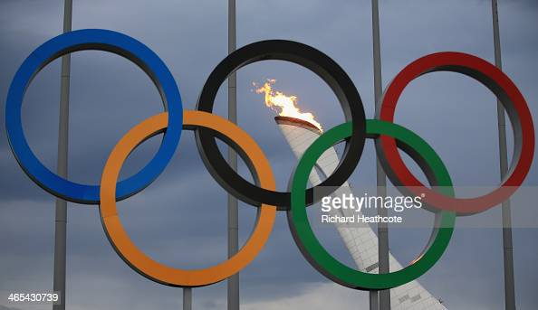 The Olympic Cauldron is tested by fire crews at the Sochi 2014 Winter Olympic Park in the Costal Cluster on January 27 2014 in Sochi Russia