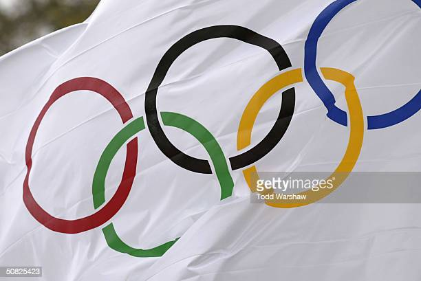 The Olympic flag flies during the Olympic flame ceremony rehearsal on March 24 2004 in Olympia Greece