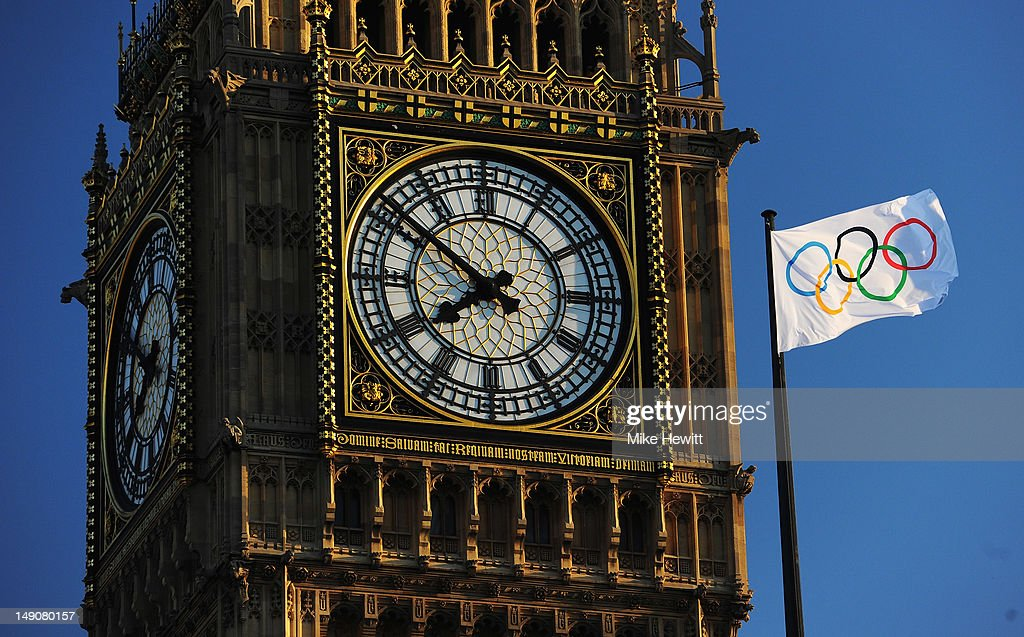 The Olympic flag flies in front of Big Ben on July 22, 2012 in London, England.