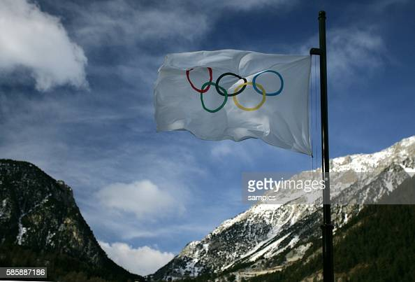 The Olympic Flag flies over Cesana Italy in preparation for the 20th Winter Olympics in Torino Italy 2006 February