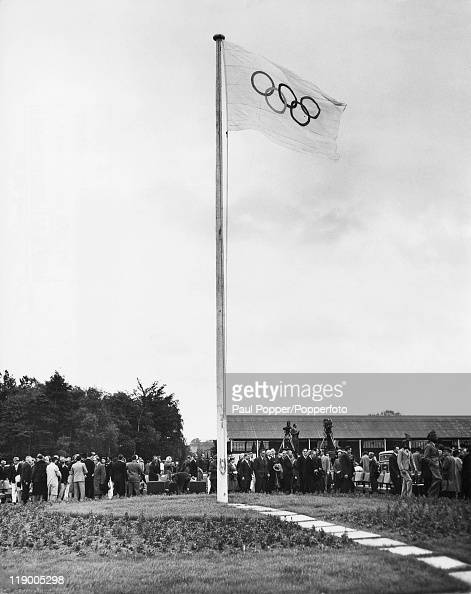 The Olympic flag flying outside the Olympic Centre in Richmond Park shortly after its official opening 30th June 1948 The centre was built to house...