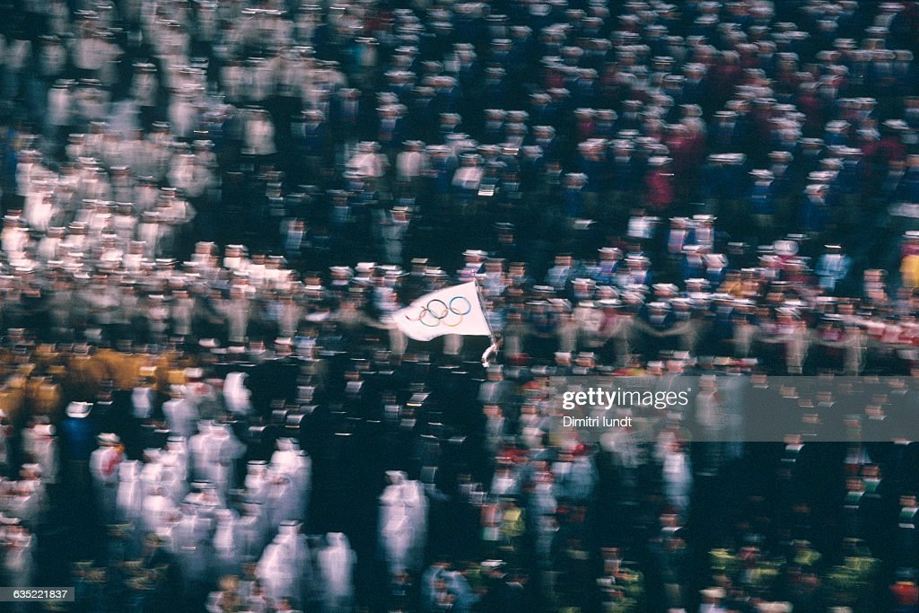 The Olympic flag is displayed by athletes during the Opening Ceremony of the 1992 Barcelona Olympic Games | Location Barcelona Spain