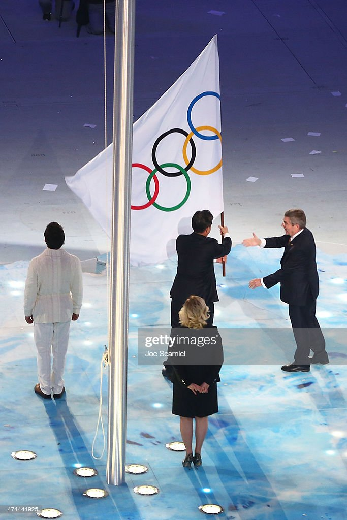 The Olympic Flag is lowered as part of the 2014 Sochi Winter Olympics Closing Ceremony at Fisht Olympic Stadium on February 23, 2014 in Sochi, Russia.