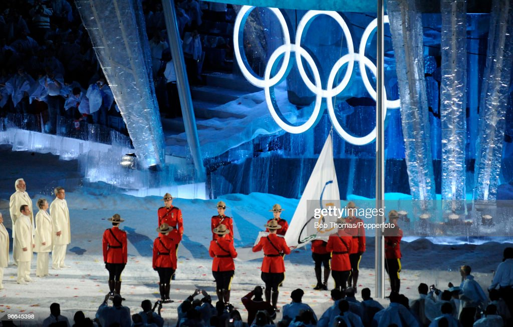 The Olympic Flag is raised during the Opening Ceremony of the 2010 Vancouver Winter Olympics at BC Place on February 12 2010 in Vancouver Canada