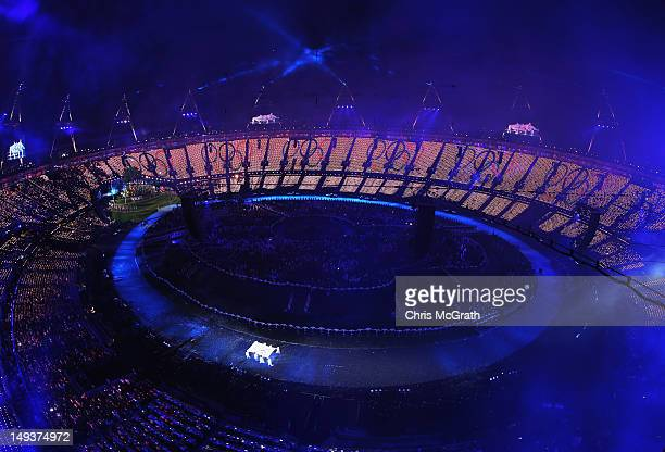 The Olympic Flag is seen during the Opening Ceremony of the London 2012 Olympic Games at the Olympic Stadium on July 27 2012 in London England