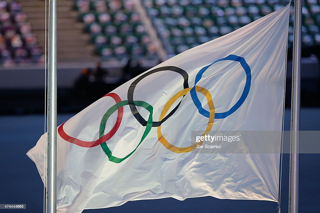 The Olympic Flag waves as part of the 2014 Sochi Winter Olympics Closing Ceremony at Fisht Olympic Stadium on February 23, 2014 in Sochi, Russia.
