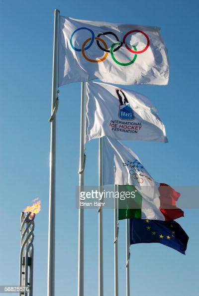 The Olympic flame burns during Day 1 of the Turin 2006 Winter Olympic Games on February 11 2006 in Turin Italy