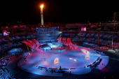 The Olympic flame burns during the Closing Ceremony of the Turin 2006 Winter Olympic Games on February 26 2006 at the Olympic Stadium in Turin Italy