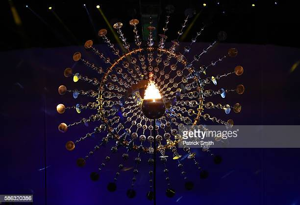 The Olympic Flame burns during the Opening Ceremony of the Rio 2016 Olympic Games at Maracana Stadium on August 5 2016 in Rio de Janeiro Brazil