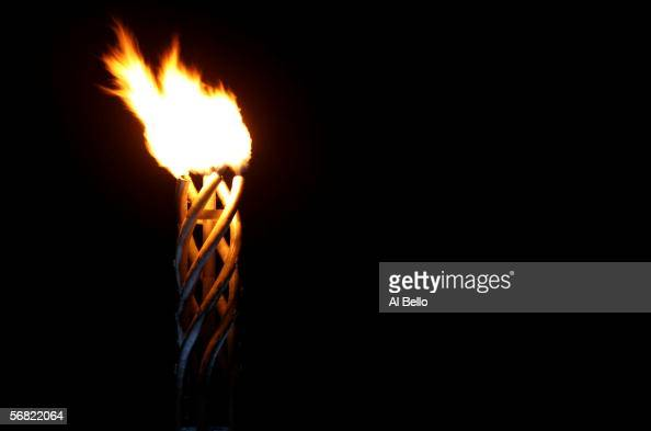 The Olympic flame burns during the Opening Ceremony of the Turin 2006 Winter Olympic Games on February 10 2006 at the Olympic Stadium in Turin Italy