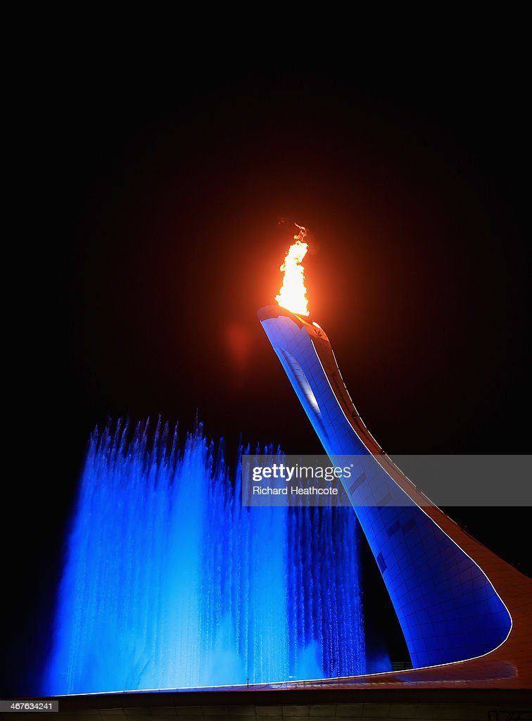 The Olympic Flame burns in the cauldron after the Opening Ceremony of the Sochi 2014 Winter Olympics at Fisht Olympic Stadium on February 7, 2014 in Sochi, Russia.
