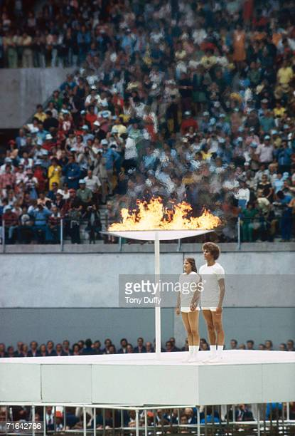 The Olympic flame during the opening ceremony of the 1976 Montreal Olympics at the Olympic Stadium 17th July 1976
