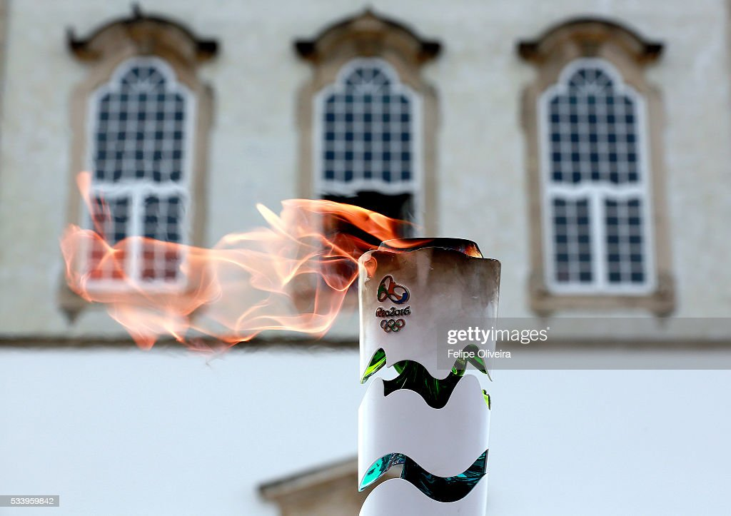 The Olympic flame in the Bonfim Church, on May 24, 2016 in Salvador, Brazil.